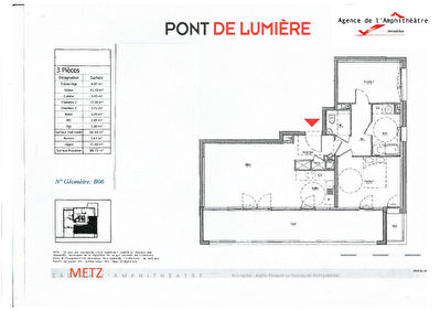 TEXT_PHOTO 1 - APPARTEMENT  3 PIECES DE 64.58 M²  LOGGIA BALCON GARAGE CAVE A VENDRE A METZ AMPHITHEATRE